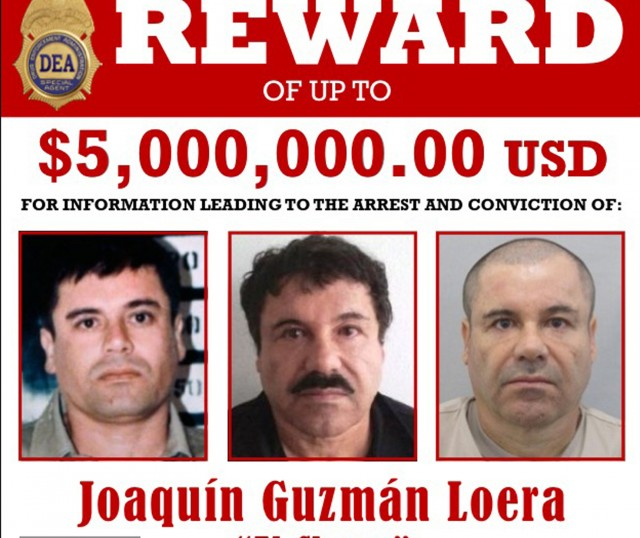 """The U.S. Drug Enforcement Administration (DEA) wanted poster shows fugitive Mexican drug kingpin Joaquin """"El Chapo"""" Guzman in this image made available in Washington August 5, 2015. The U.S. government believes fugitive Mexican drug kingpin Joaquin """"El Chapo"""" Guzman is still in Mexico, and federal agents are working with Mexican authorities on his recapture, the acting head of the U.S. Drug Enforcement Administration said on Wednesday.  REUTERS/The Drug Enforcement Administration (DEA)/Handout via Reuters FOR EDITORIAL USE ONLY. NOT FOR SALE FOR MARKETING OR ADVERTISING CAMPAIGNS. THIS IMAGE HAS BEEN SUPPLIED BY A THIRD PARTY. IT IS DISTRIBUTED, EXACTLY AS RECEIVED BY REUTERS, AS A SERVICE TO CLIENTS - RTX1N84O"""