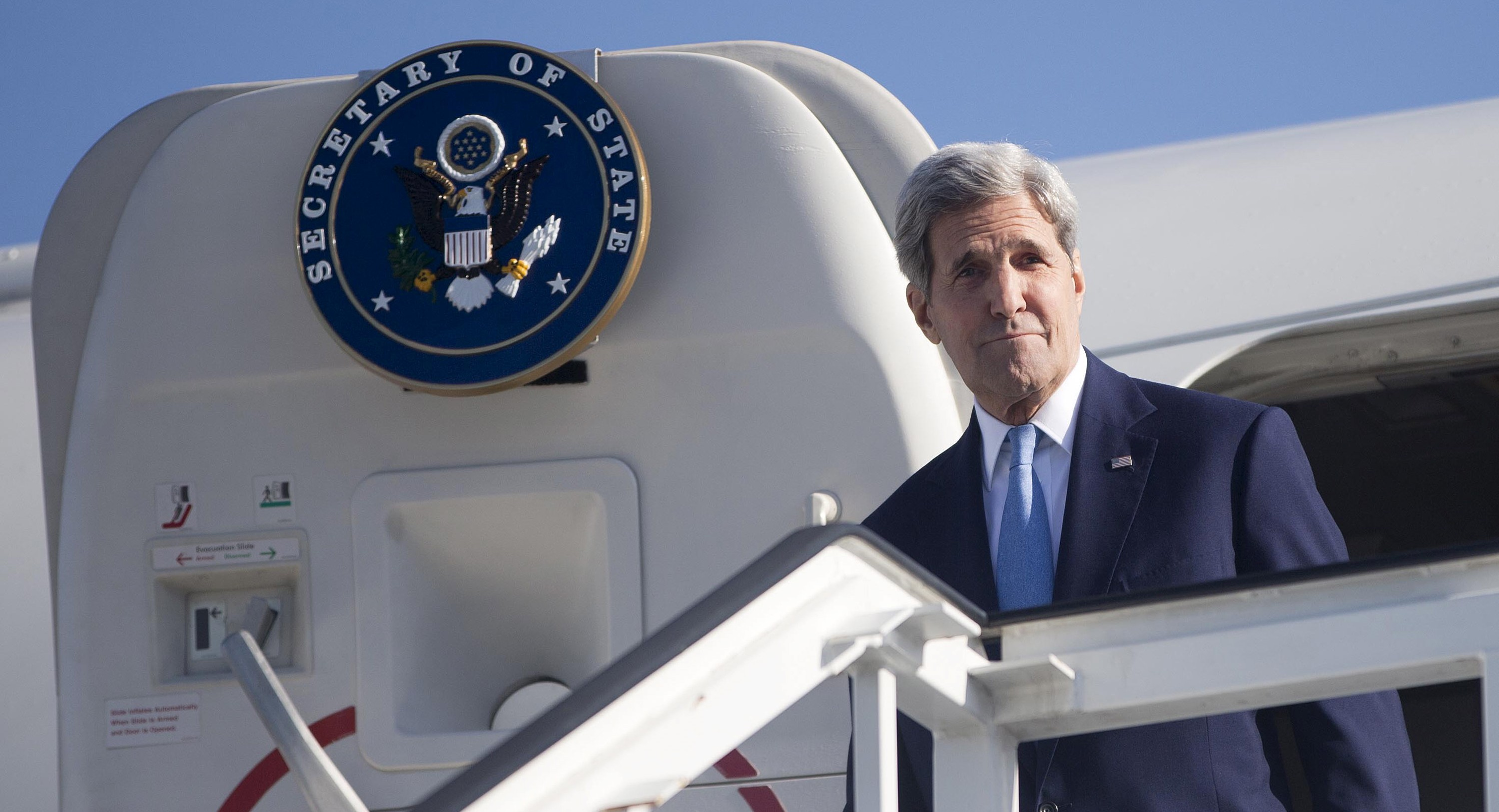 Secretary of State John Kerry arrives at Jose Marti International Airport in Havana, Cuba, August 14, 2015. Kerry arrived in Cuba on Friday to raise the U.S. flag at the recently restored American Embassy in Havana, another symbolic step in improved relations between the two Cold War-era foes. REUTERS/Pablo Martinez Monsivais/Pool  - RTX1O9OU