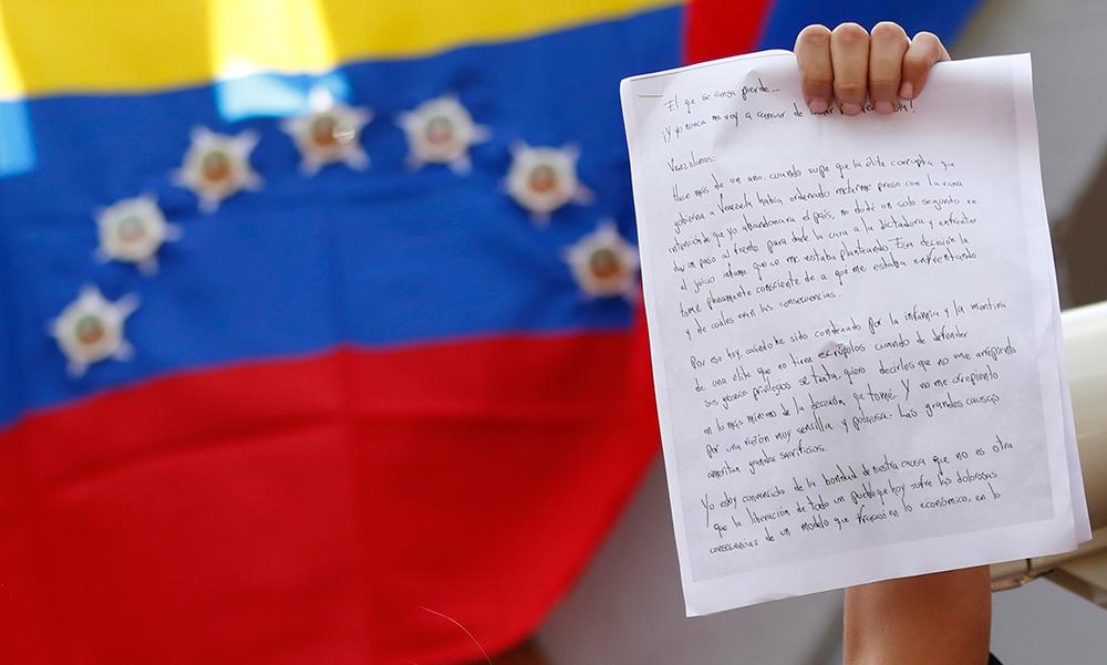 La carta de Leopoldo López. Foto: REUTERS