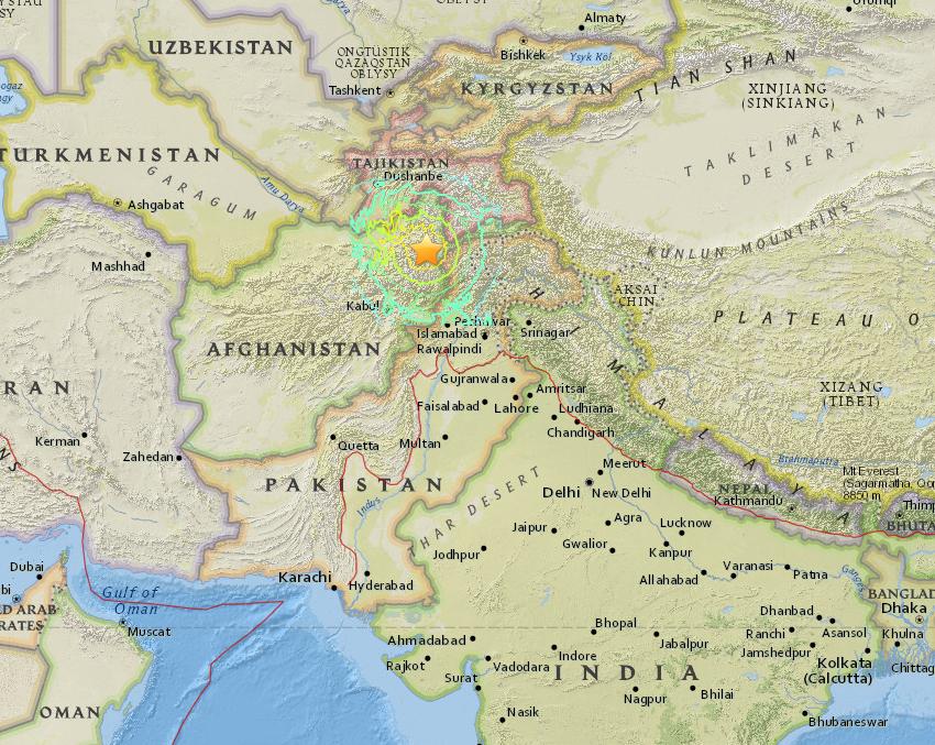 Mapa terremoto Pakistán