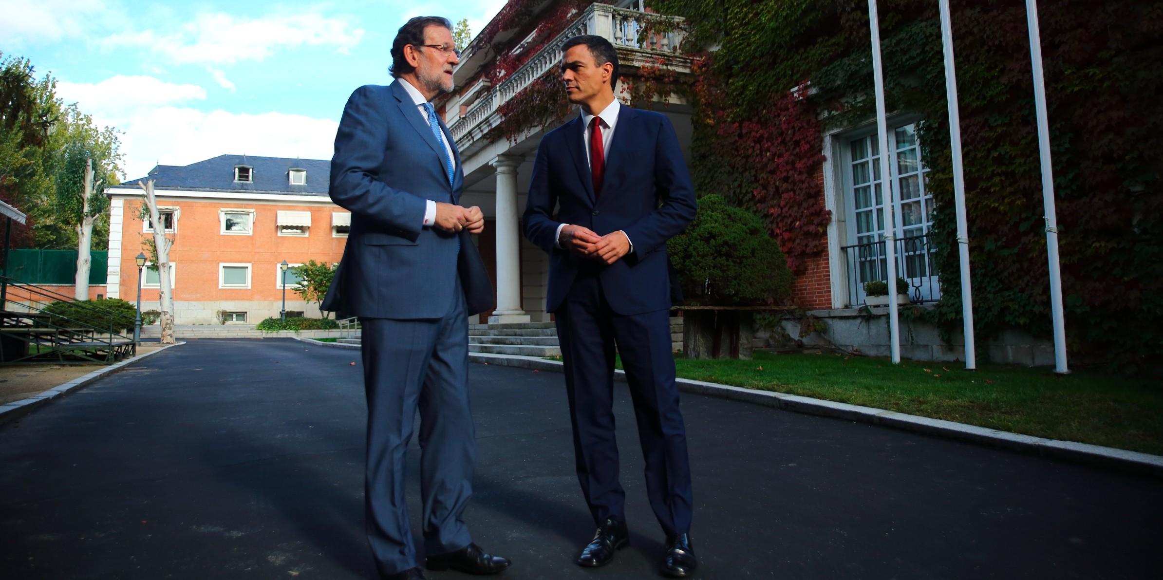 Imagen de la reunión que han mantenido Mariano Rajoy y Pedro Sánchez en La Moncloa