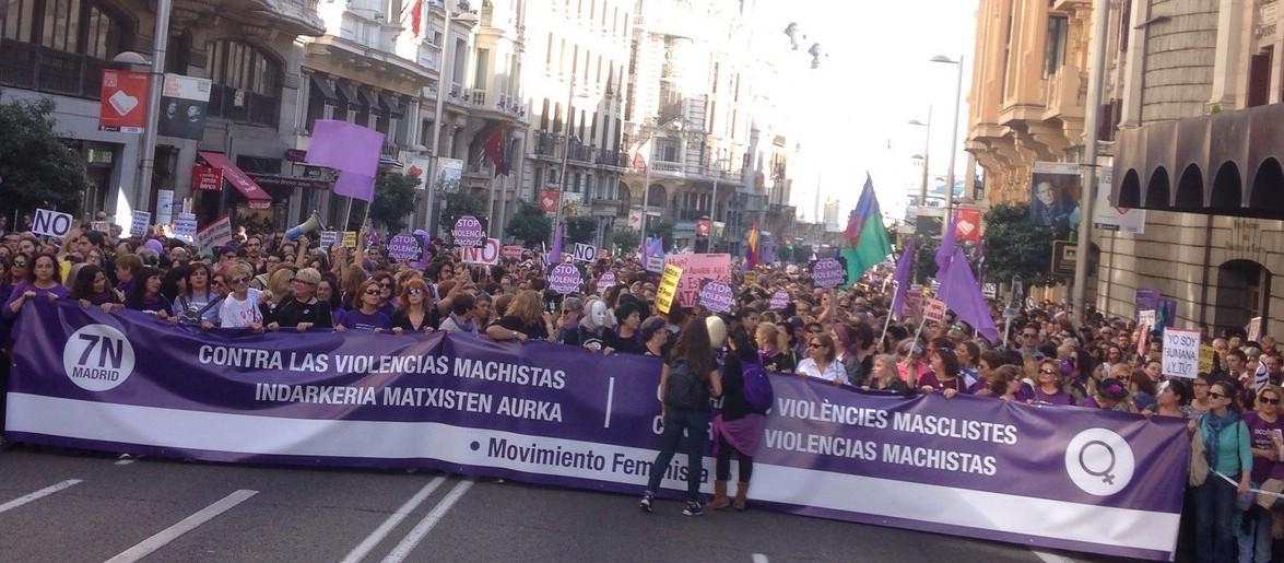 Marcha contra la violencia machista en Madrid.   Foto: Óscar Abou-Kassem