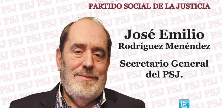 Programa electoral del Partido Social de la Justicia (PSJ) que encabeza su candidato a La Moncloa, Emilio Rodríguez Menéndez.