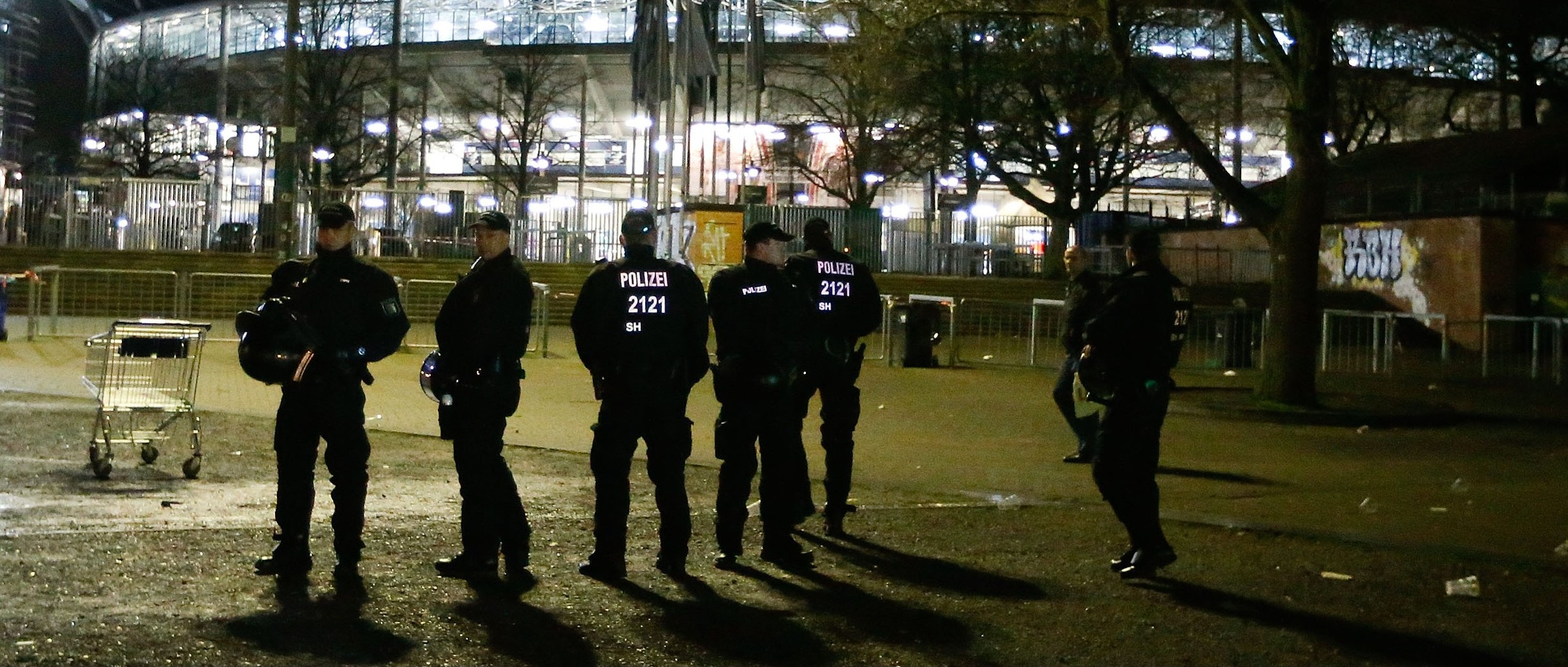 Football Soccer - Germany vs Netherlands - International Friendly - HDI Arena, Hanover, Germany - 17/11/15. Heavy armed Police stand outside the stadium after the match was called off by police due to security reasons.    REUTERS/Morris Mac Matzen  TPX IMAGES OF THE DAY - RTS7LWM