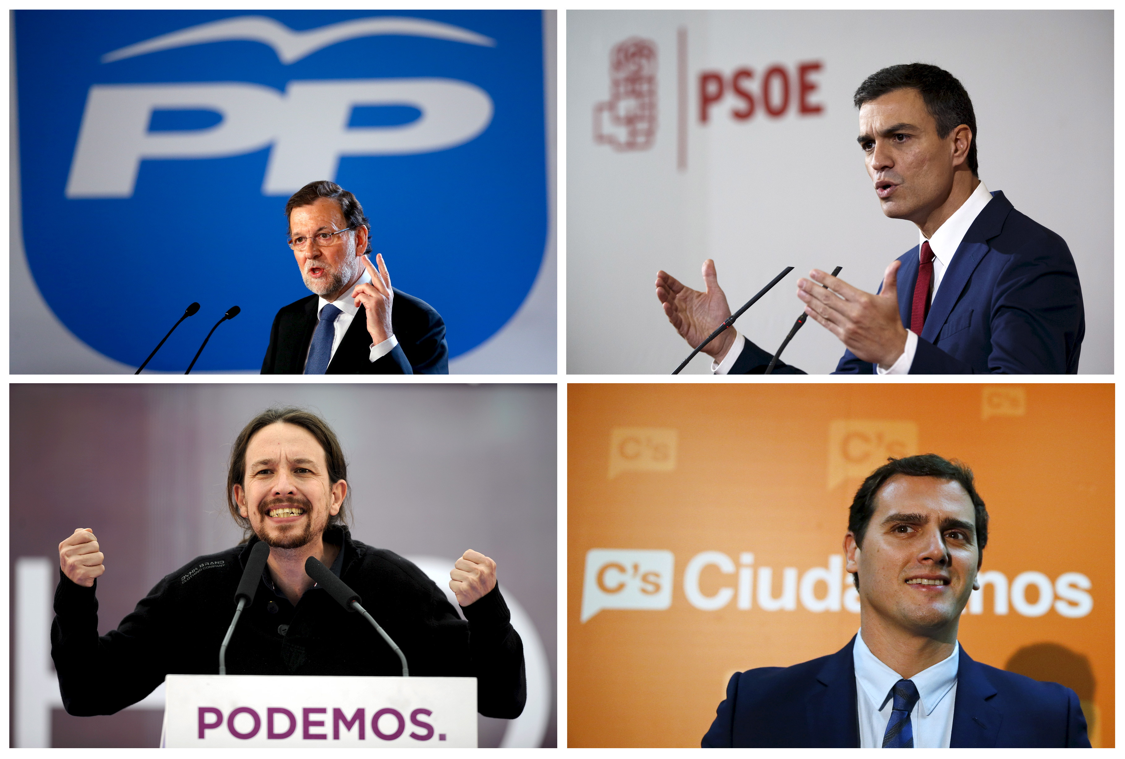 A combination of file pictures shows (clockwise from top L) Spain's Prime Minister Mariano Rajoy in Barcelona, Spain, January 31, Spain's opposition socialist party PSOE leader and election candidate Pedro Sanchez in Madrid, Spain, October 28, Spain's Ciudadanos party leader and election candidate Albert Rivera in Madrid, Spain, October 27, and Spain's Podemos (We Can) party leader and election candidate Pablo Iglesias in Oviedo, Spain, May 17. Spain's ruling People's Party would win a general election with 29.1 percent of the vote if it was held today, extending an earlier poll lead of 28.2 percent, an official survey showed. However, support for the Socialist Party (PSOE) also rose to 25.3 percent from 24.9 percent in the last Sociological Research Centre (CIS) poll in August, putting it in a position to potentially form a government coalition with newcomer party Ciudadanos after a general election on Dec. 20. Ciudadanos climbed to 14.7 percent from 11.1 percent. Leftist Podemos, which came second in the same survey earlier this year and was seen as a potential election winner, is seen falling to fourth place at 10.8 percent from 15.7 percent in August. REUTERS/Albert Gea/Paul Hanna/Eloy Alonso/Andrea Comas      TPX IMAGES OF THE DAY      - RTX1UVV1