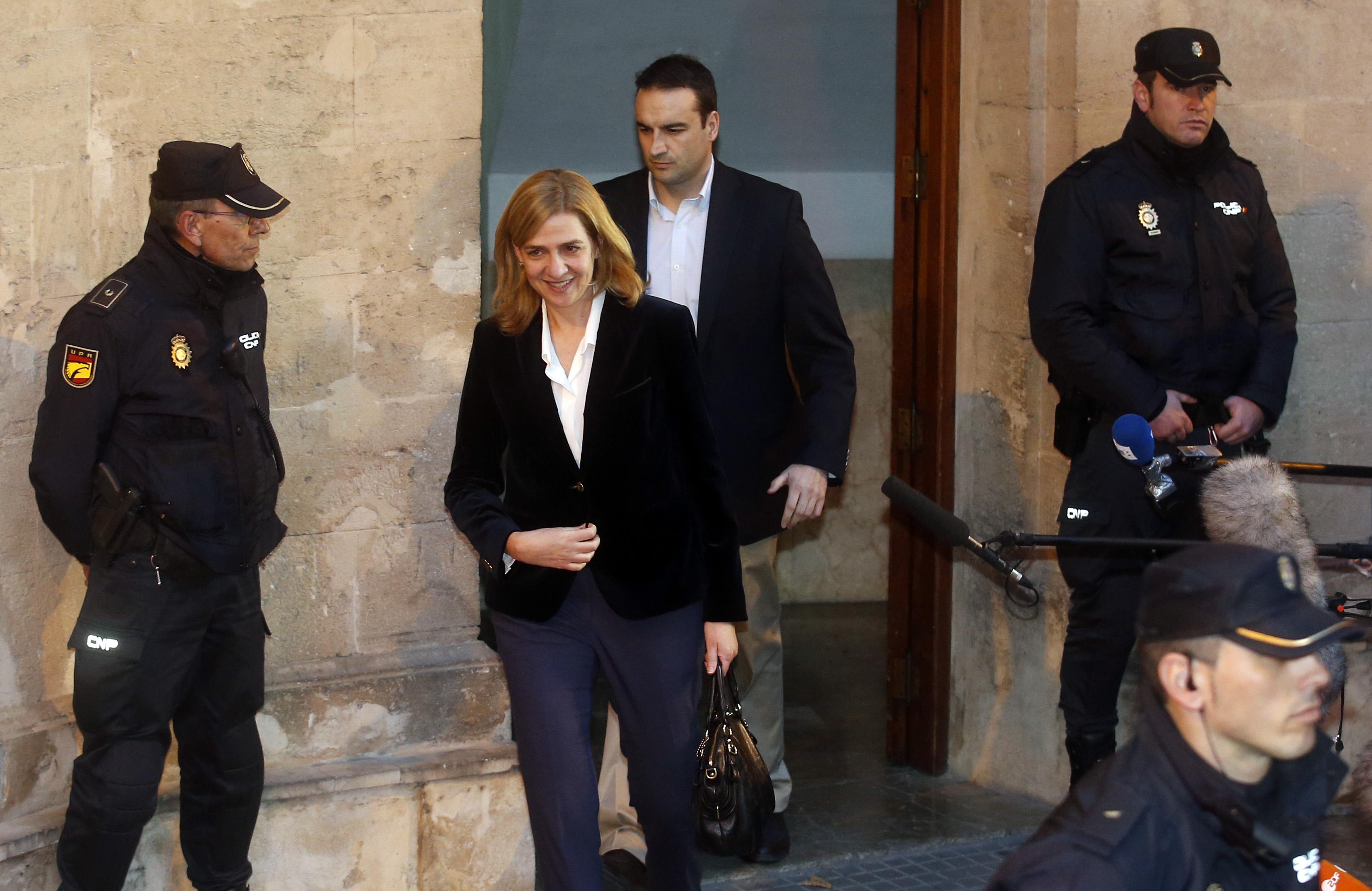 Cristina de Borbón tras declarar en los juzgados de Mallorca en febrero de 2014. Reuters