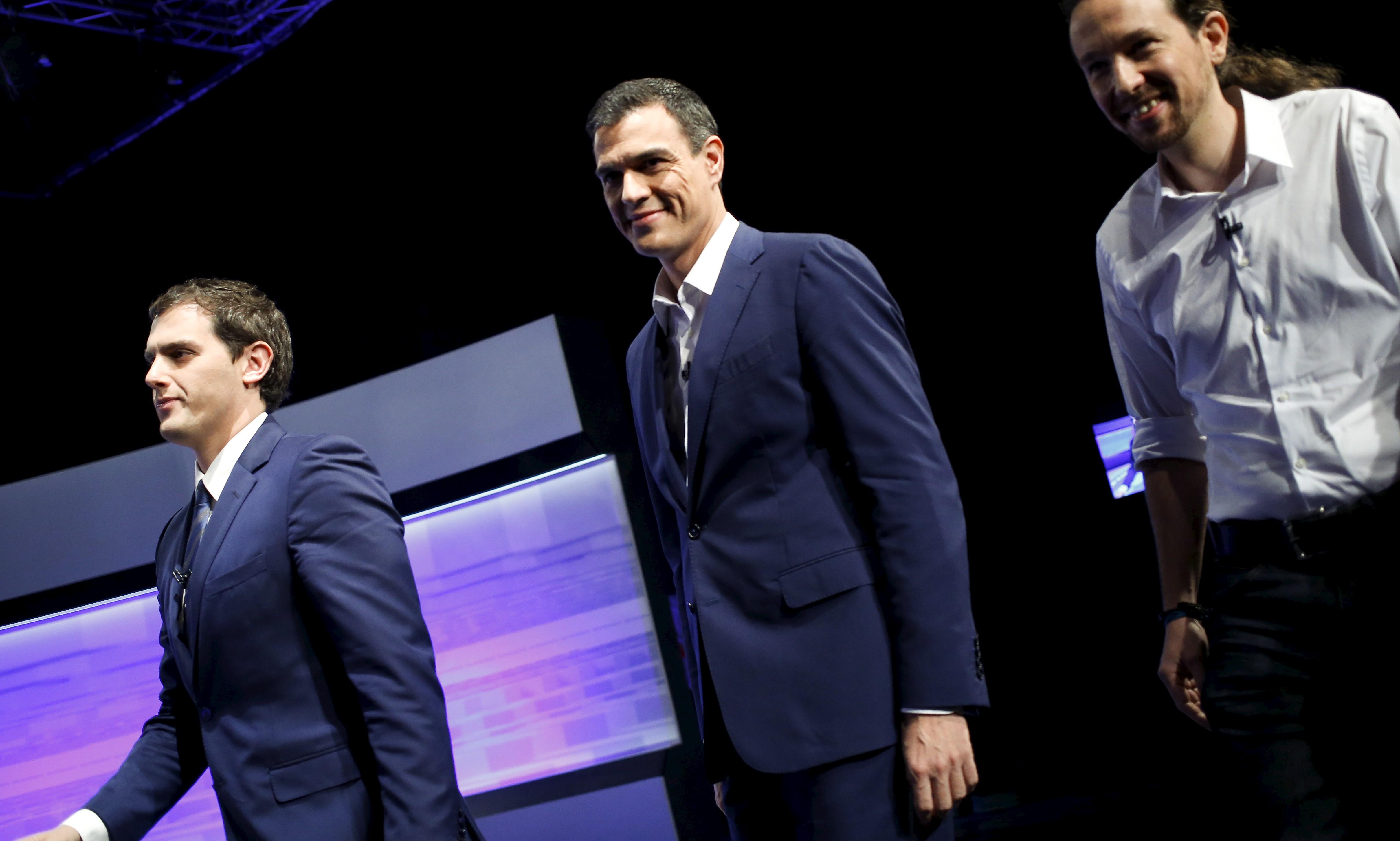 Albert Rivera, Pedro Sánchez y Pablo Iglesias. | Reuters