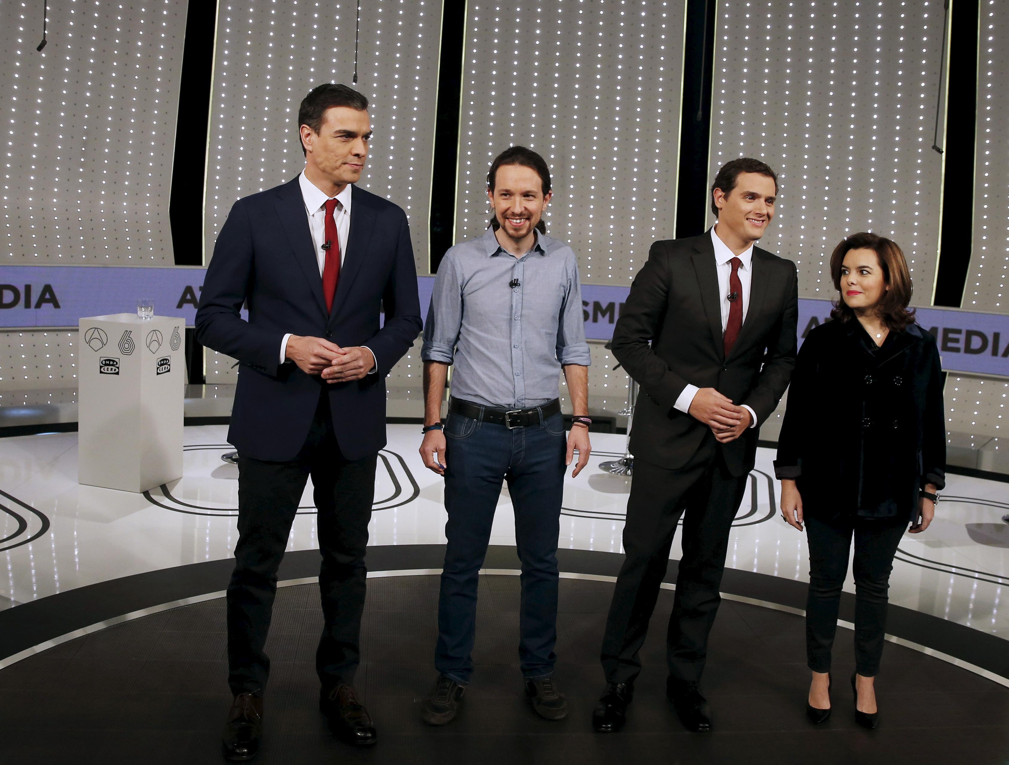 Pedro Sanchez, Pablo Iglesias, Albert Rivera y Soraya Sáenz de Santamaria