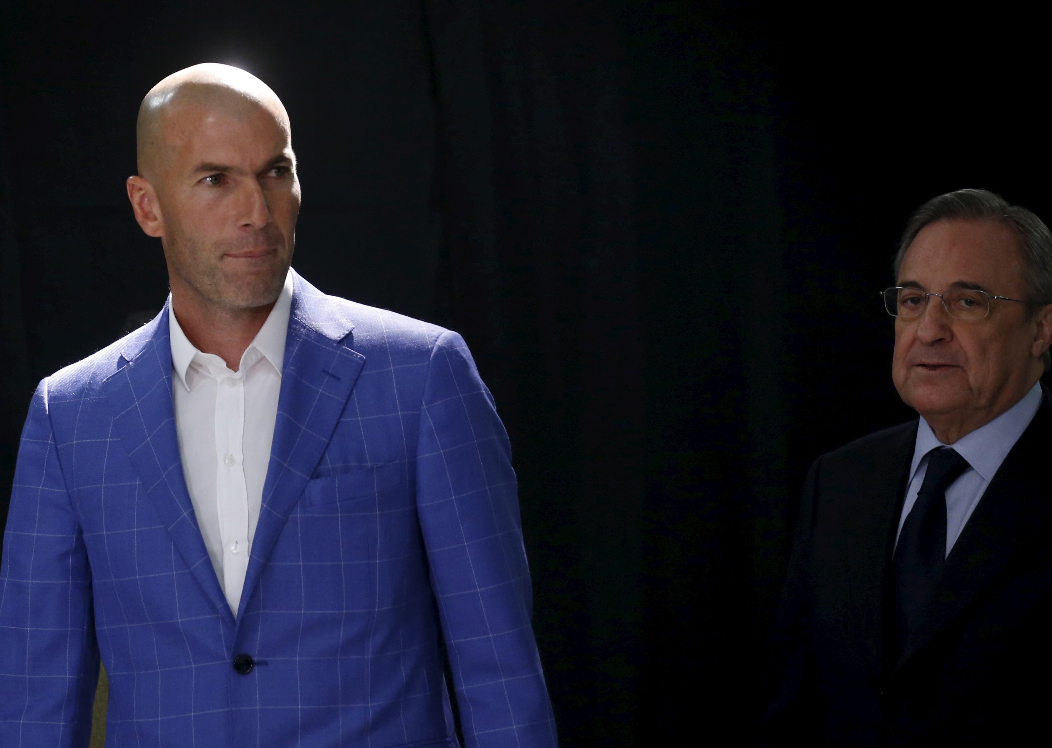 Zinedine Zidane y Florentino Pérez. Reuters