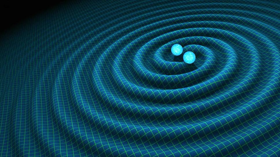 Recreación artística de ondas gravitacionales generadas por estrellas binarias de neutrones. NASA