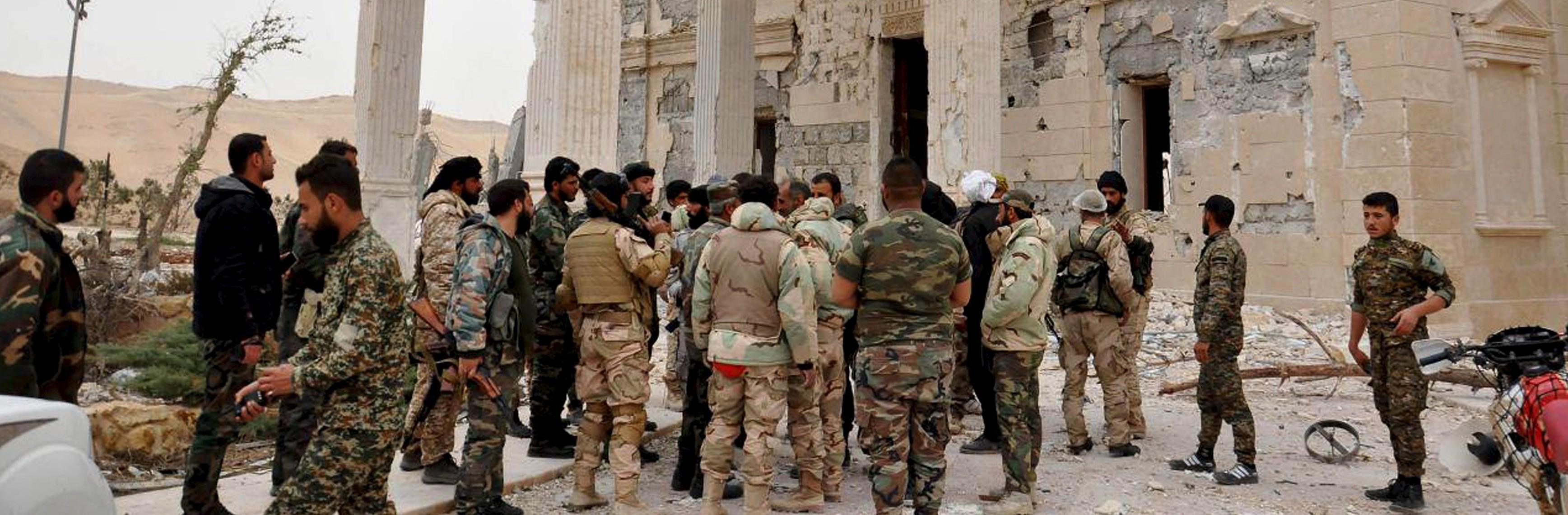 Imagen de los soldados del régimen en Palmira. Reuters