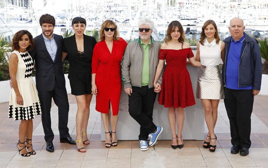 "Director Pedro Almodovar and cast members pose during a photocall for the film ""Julieta"" in competition at the 69th Cannes Film Festival in Cannes"