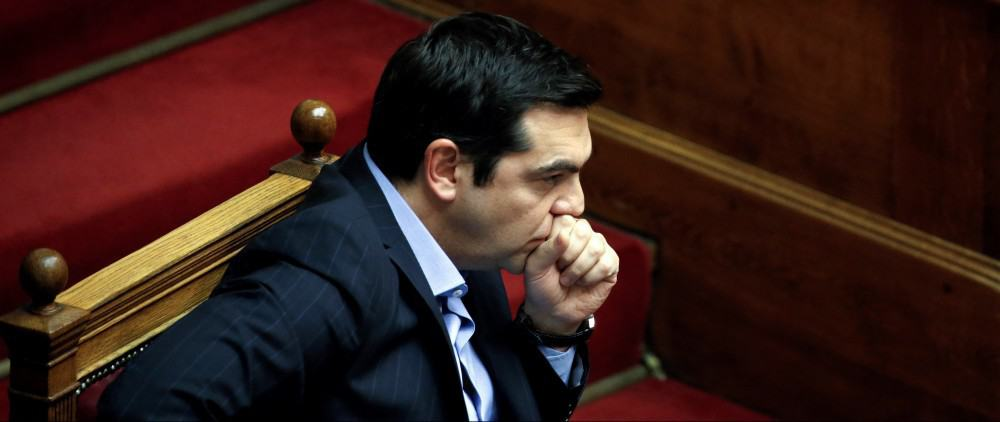 Greek Prime Minister Alexis Tsipras attends a parliamentary session before a vote of tax and pension reforms in Athens, Greece, May 8, 2016. REUTERS/Alkis Konstantinidis - RTX2DDPC