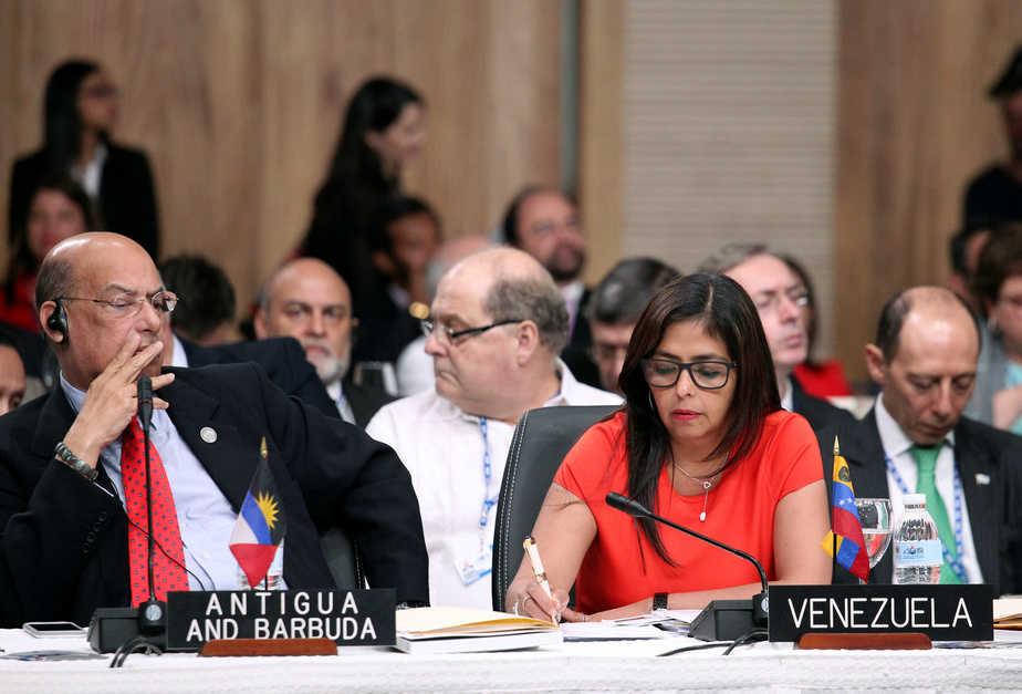 La canciller venezolana Delcy Rodríguez durante una reunión de la OEA. Foto: Reuters
