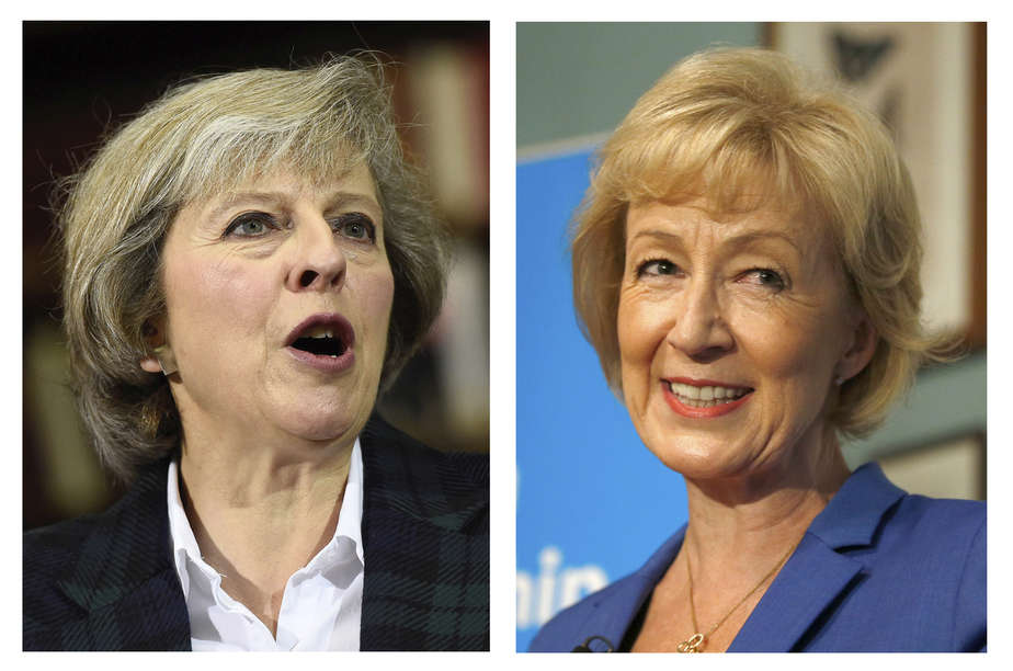 The two remaining candidates in the Conservative party leadership contest, Theresa May (L) and Andrea Leadsom, are seen in this combination of two photographs, released in London, Britain July 7, 2016. REUTERS/Staff  - RTX2K6AH