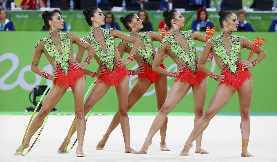 El equipo español de gimnasia rítmica. Foto: Reuters