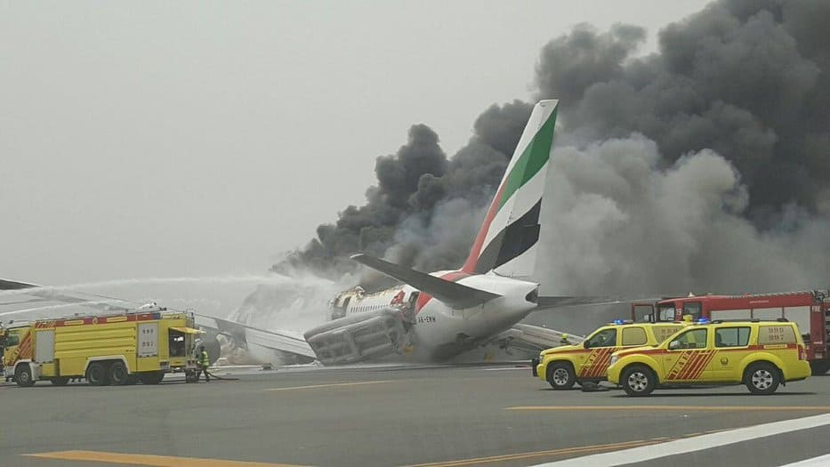Imagen del avión en el aeropuerto de Dubai. Foto: @AlArabiya_Eng