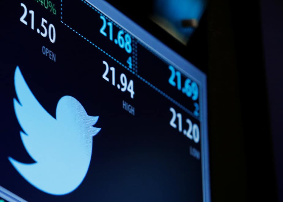 The Twitter logo and trading information is displayed just after the opening bell on a screen on the floor of the New York Stock Exchange (NYSE) in New York City, U.S., September 23, 2016.  REUTERS/Brendan McDermid - RTSP51Q