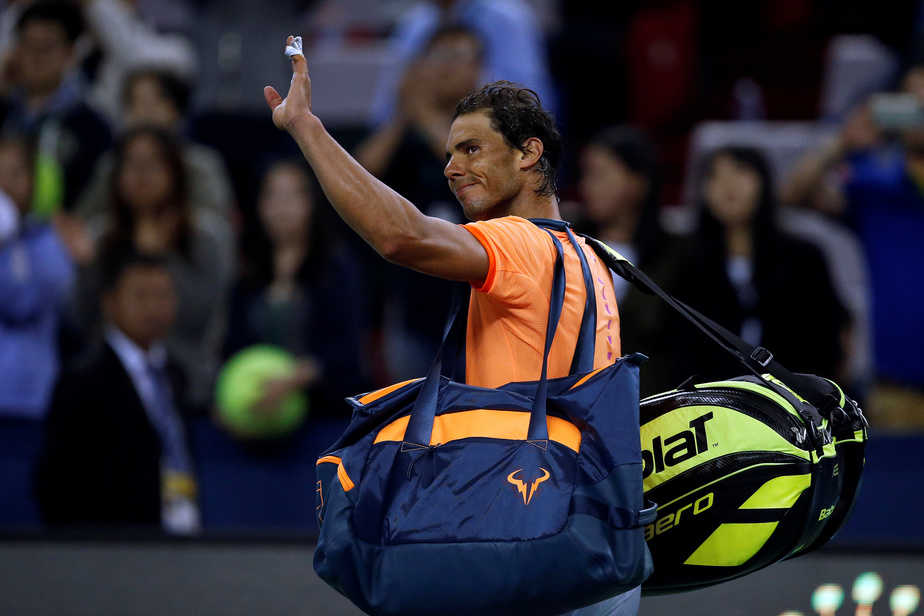 Tennis - Shanghai Masters tennis tournament - Shanghai, China - 12/10/16. Rafael Nadal of Spain reacts after his match against Viktor Troicki of Serbia. REUTERS/Aly Song - RTSRX44
