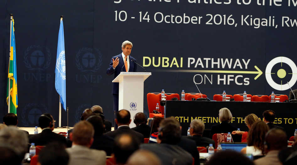 U.S. Secretary of State John Kerrydelivers his keynote addres to promote U.S. climate and environmental goals, at the Meeting of the Parties to the Montreal Protocol on the elimination of hydro fluorocarbons (HFCs) use, held in Rwanda's capital Kigali, October 14, 2016. REUTERS/James Akena - RTSSAPL