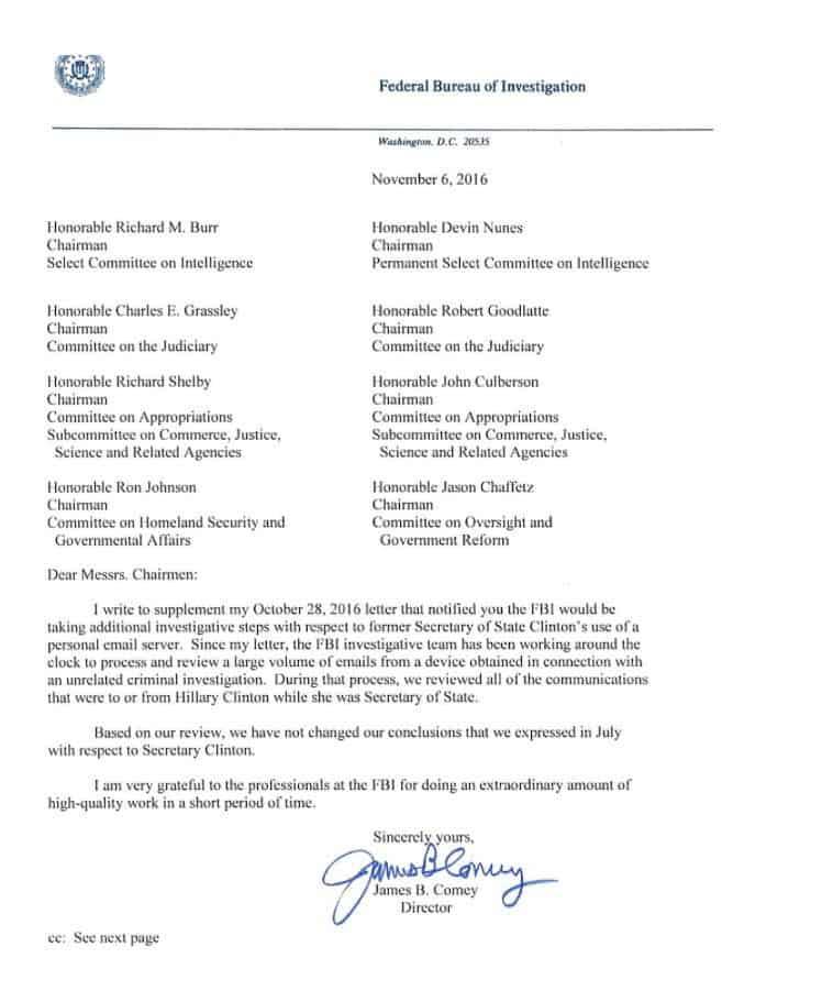 Con esta carta, el FBI exonera de nuevo a Hillary Clinton en el escándalo de los emails (Twitter)