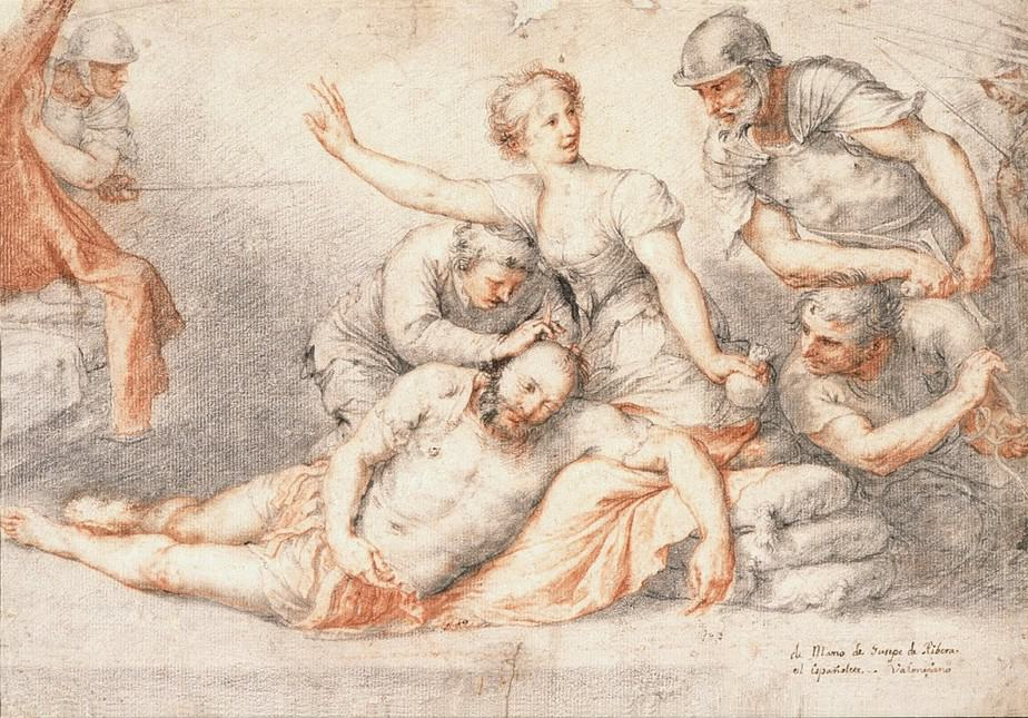 José de Ribera. Lápiz negro y sanguina con trazos de tinta parda a pluma, 280 x 397 mm. Mediados  de1620.Museo de Bellas Artes de Córdoba.