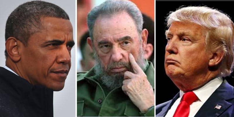 Obama Fidel Castro y Donald Trump