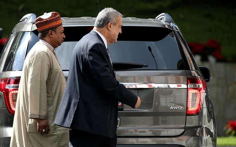 Presidente de PDVSA, Eulogio Del Pino y Secretario OPEP, Mohammed Barkindo,