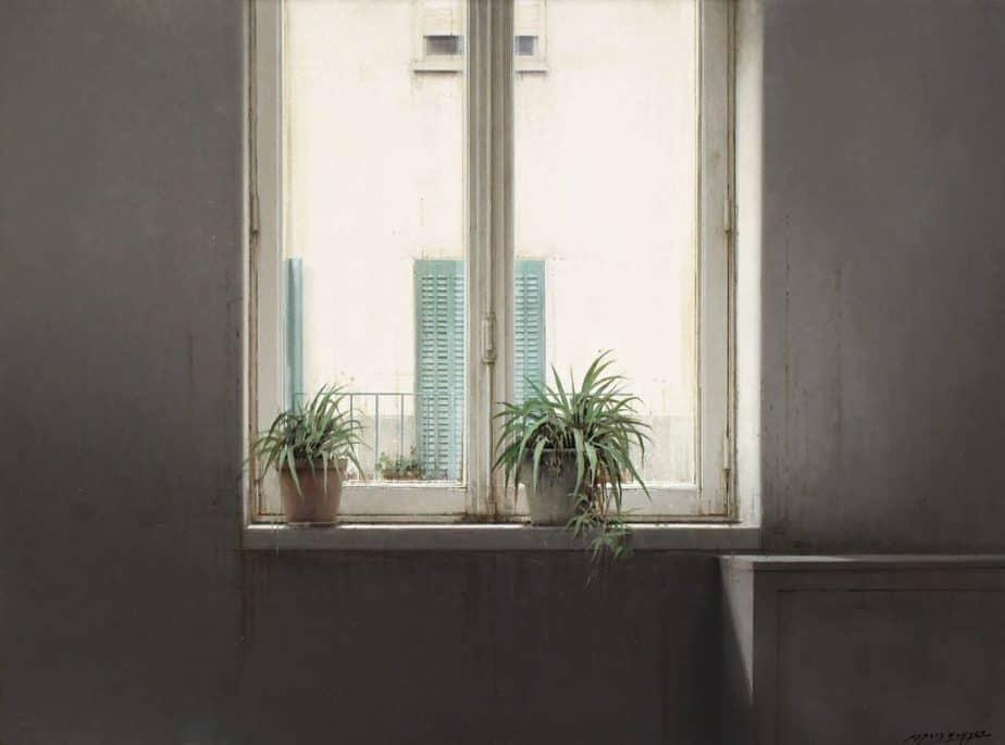 Desde la ventana 60x81 cm. Óleo sobre tabla