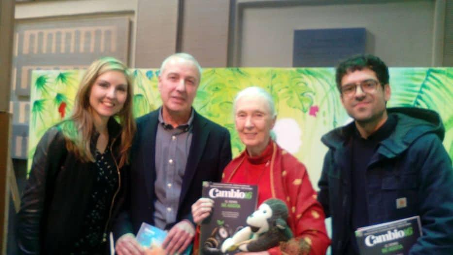 Jane Goodall con Cambio16 en la entrega de los XVII Premios Ecovidrio.