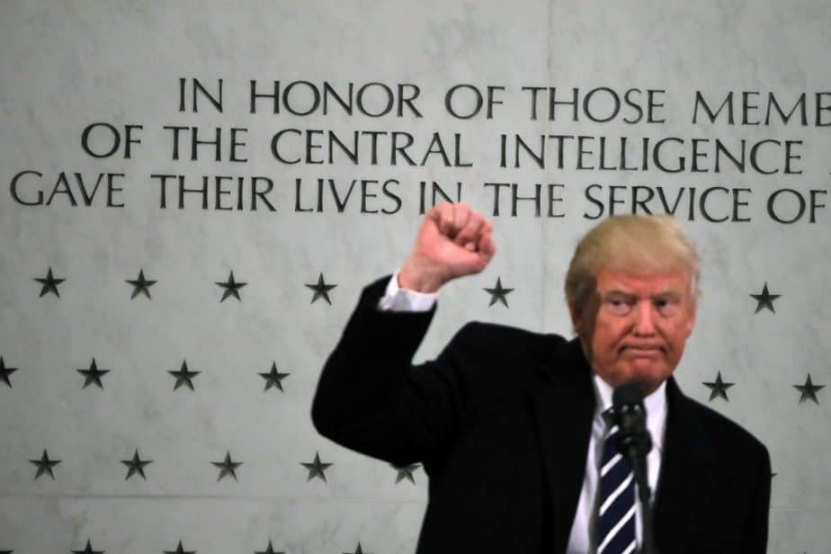 U.S. President Donald Trump reacts after delivering remarks during a visit to the Central Intelligence Agency (CIA) in Langley, Virginia U.S., January 21, 2017. REUTERS/Carlos Barria - RTSWQZK