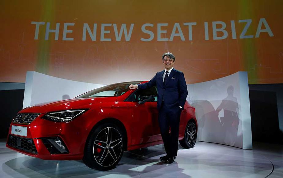 President and CEO of SEAT Luca de Meo poses with the new Seat Ibiza (5th generation) during the launching event in Barcelona, Spain January 31, 2017. REUTERS/Albert Gea - RTX2Z1KA