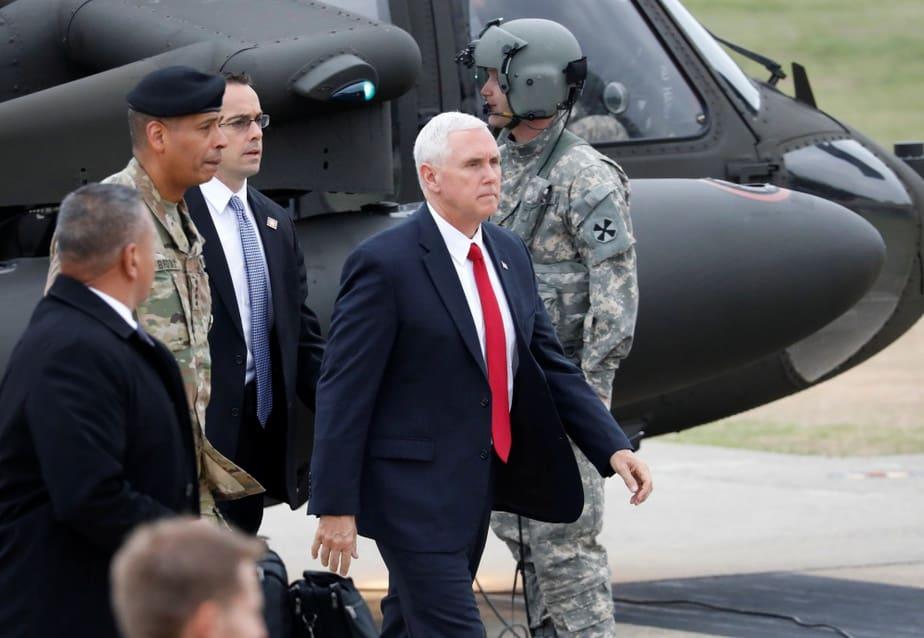 U.S. Vice President Mike Pence arrives at Camp Bonifas near the truce village of Panmunjom, in Paju, South Korea, April 17, 2017.  REUTERS/Kim Hong-Ji   TPX IMAGES OF THE DAY - RTS12KIU