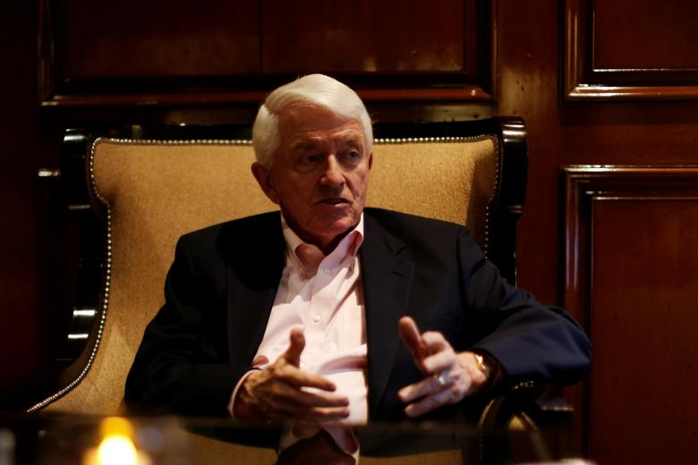Tom Donohue, President of U.S. chamber of Commerce, gestures during an interview with Reuters in Mexico City, Mexico April 23, 2017.  REUTERS/Carlos Jasso
