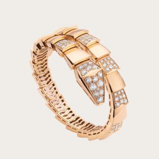 9c29b7f88e8a Pulsera Serpiente en oro rosa con demi pavé de diamantes