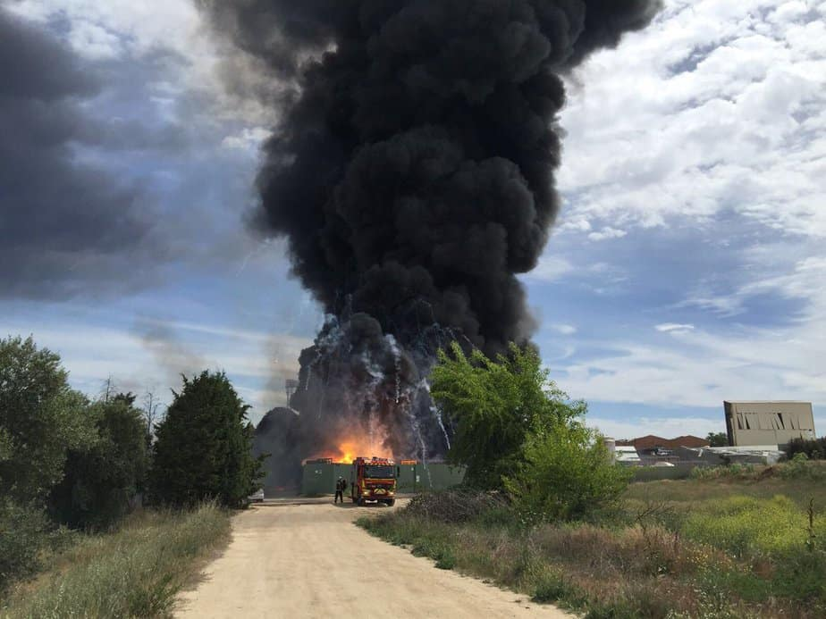 Explosión en Arganda del Rey. FOTO: @112cmadrid