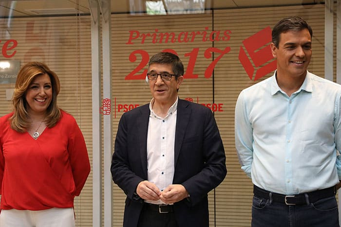 Susana Díaz, Patxi López y Pedro Sánchez, durante el debate del PSOE. FOTO: Flickr PSOE