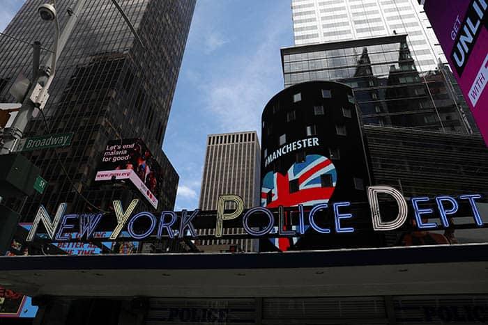Departamento de Policía de Nueva York, con alusiones al atentado de Mánchester. FOTO: Reuters
