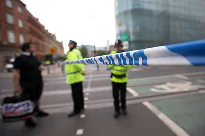 Cordón policial en la zona del atentado de Mánchester. FOTO: Reuters