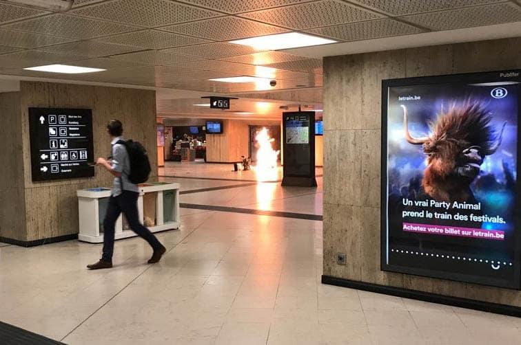 Atentado en la estación central de Bruselas. FOTO: Reuters