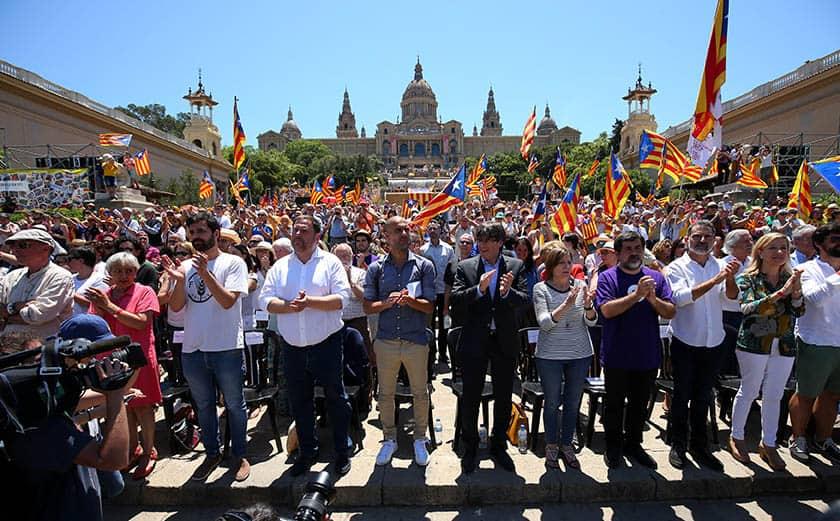 Acto a favor de la independencia de Cataluña.