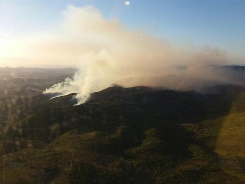 Incendio declarado en la Sierra Calderona. FOTO: Emergencias
