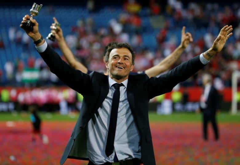 Soccer Football - FC Barcelona vs Sevilla - Copa del Rey Final - Vicente Calderon, Madrid, Spain - 22/5/16 Barcelona manager Luis Enrique celebrates after winning the Copa del Rey Final  Reuters / Juan Medina/ Livepic
