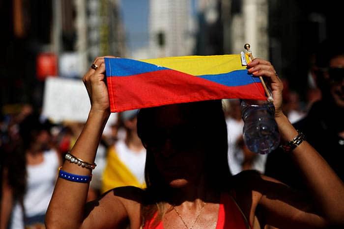 Manifestación celebrada en Madrid contra el Gobierno de Venezuela. FOTO: Reuters