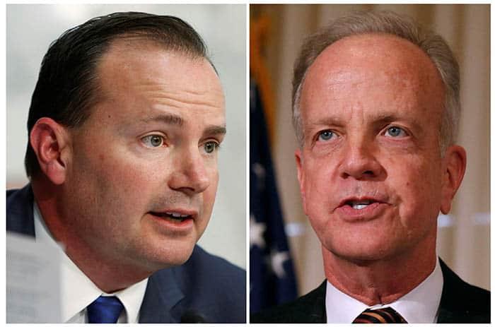 Los senadores estadounidenses Mike Lee y Jerry Moran. FOTO: Reuters