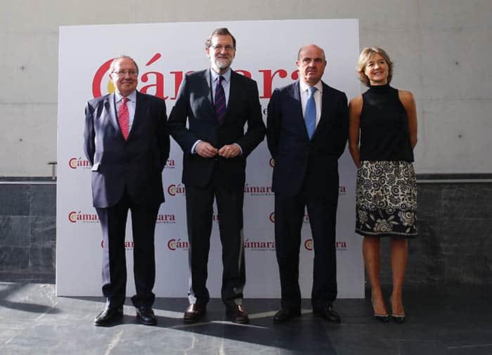 Rajoy, Gunidos y Tejerina, durante un acto de la Cámara española. FOTO: Moncloa