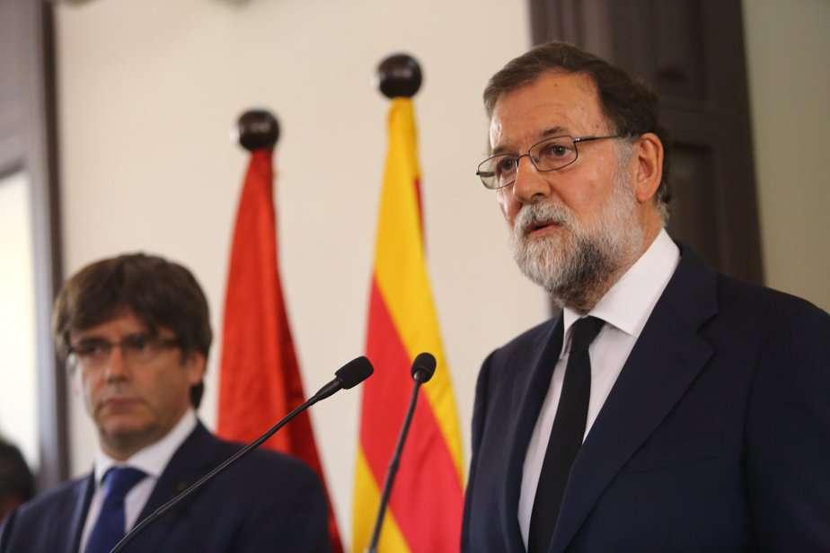Tanto Rajoy como Puigdemont apelaron a la unidad para luchar contra el terrorismo y ganar la batalla