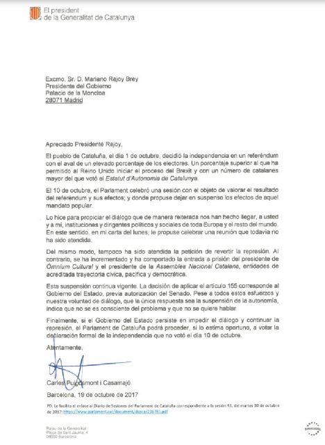 Carta de Carles Puigdemont.
