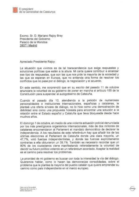 Carta de Puigdemont.