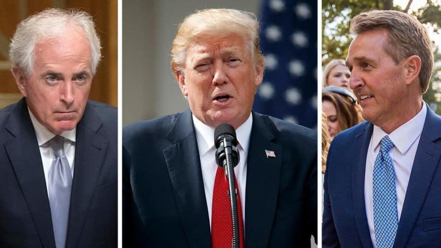 Los senadores republicanos Bob Corker (Izq) y Jeff Flake (der) enfilaron baterías contra Trump
